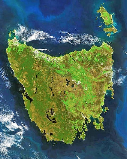 Satellite view of Tasmania